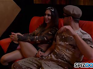 Jessica Jaymes and Nina Elle get off with army fellow pipe