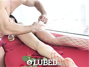 oiled Marley Brinx lubricated up massage fuck and internal cumshot