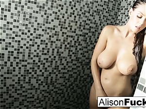 Alison showers and plays with her taut cooch