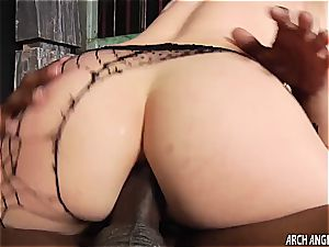 small ash-blonde poked in the arse by large ebony manstick