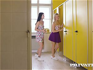 Private.com - lezzie three-way in the rest room