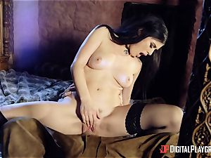 Olive Glass wish labia screw with a monster trouser snake