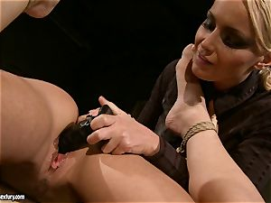 Kathia Nobili like to pinched down her sub with fake penis
