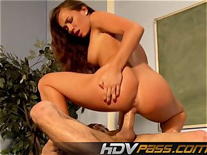 HDVPass Capri penetrates while ET jerks-off.