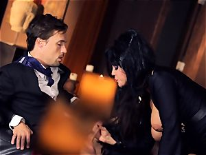 ebony haired Alison Tyler ravages her suited paramour