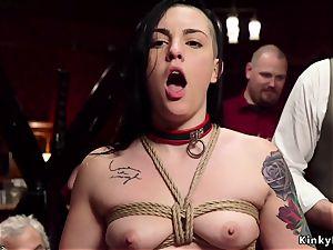 red-hot gimp in upside down suspension oral job