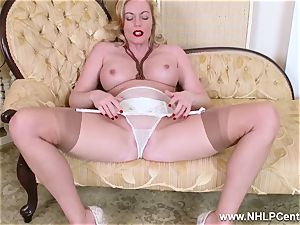 platinum-blonde mummy disrobes off retro lingerie porks fleshy vulva