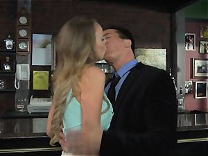 Alexis Adams plumbs the manager in the bar
