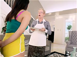Valentina Nappi beaten in her minge with her grandmother sleeping in the room