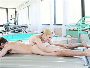 huge-boobed masseur In act
