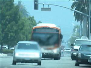 Karmen Bella romps her stud on a crowded bus