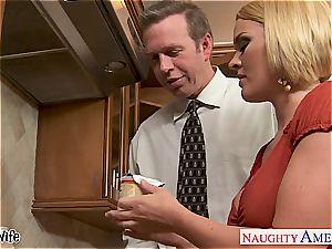 big-boobed wife Krissy Lynn licking jizz in the kitchen