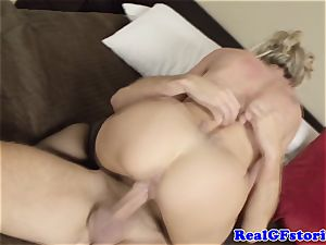 steamy ash-blonde housewife cougar romped