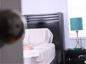 Gina Valentina caught messing with her cunt fuck hole and then tucked with schlong