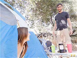 cum-swapping camping sweethearts Karlee Grey and Jojo smooch