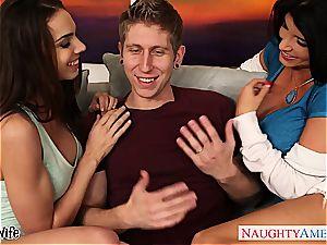 mischievous babe Romi Rain share a large spunk-pump with a girl/girl