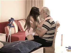 Therapy with elderly spunk-pump for a sick nubile chick