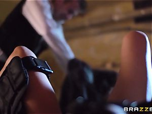 Madison Ivy is speared by a massive trunk