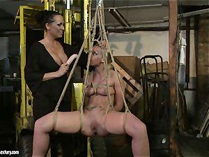 Kathia Nobili and Mandy Bright fake penis boning rock-hard