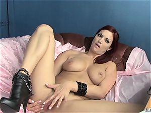 voluptuous Jayden Cole enjoys teasing her saucy wet pleasure button