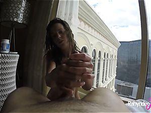 Rahyndee pleasing jizz-shotgun in Las Vegas motel pov