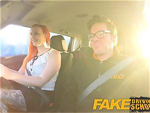 fake Driving school marvelous sandy-haired lusts after huge salami