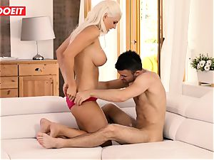 buxom Stepmother gets dp by stepson and his friend