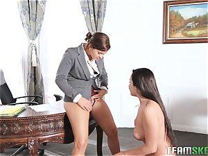 Keisha Grey flashing Karlee Grey whose boss