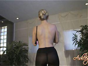 Ashley Fires light-haired nymph in ebony sundress