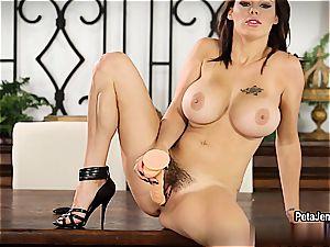 big-titted Peta Jensen plumbs herself to shuddering ejaculation