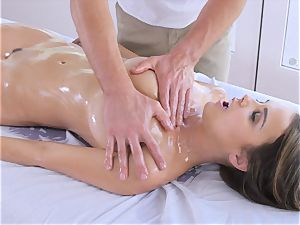 lubricated up dark-haired Dillion Harper kneaded and pummeled with ginormous manhood