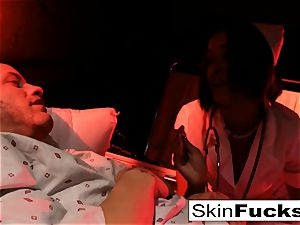 Nurse skin gets anally poked by her patient
