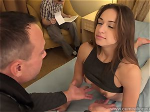 Sara Luvv Cuckolds Her hubby and Makes him fellate shaft
