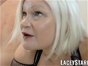 LACEYSTARR - UK grandmother group-fucked and licking jism