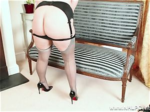 bodacious ash-blonde jacks in grey nylons and high high-heeled slippers