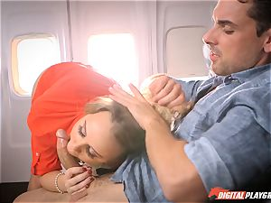 insatiable stewardess Alexis Adams penetrating with the passengers